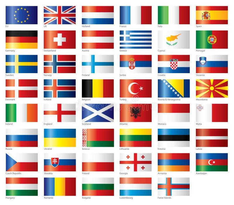 glansig set för europeiska flaggor stock illustrationer