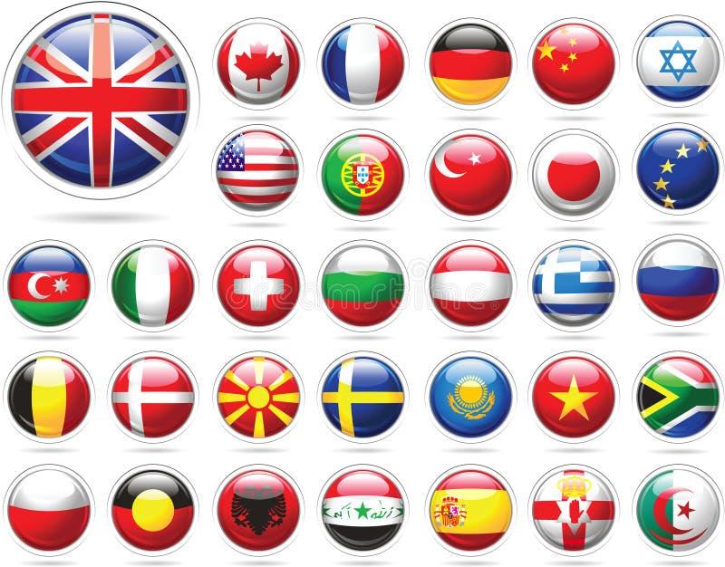 glansig set för knappflaggor stock illustrationer