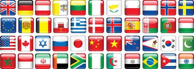 glansig set för knappflaggor royaltyfri illustrationer