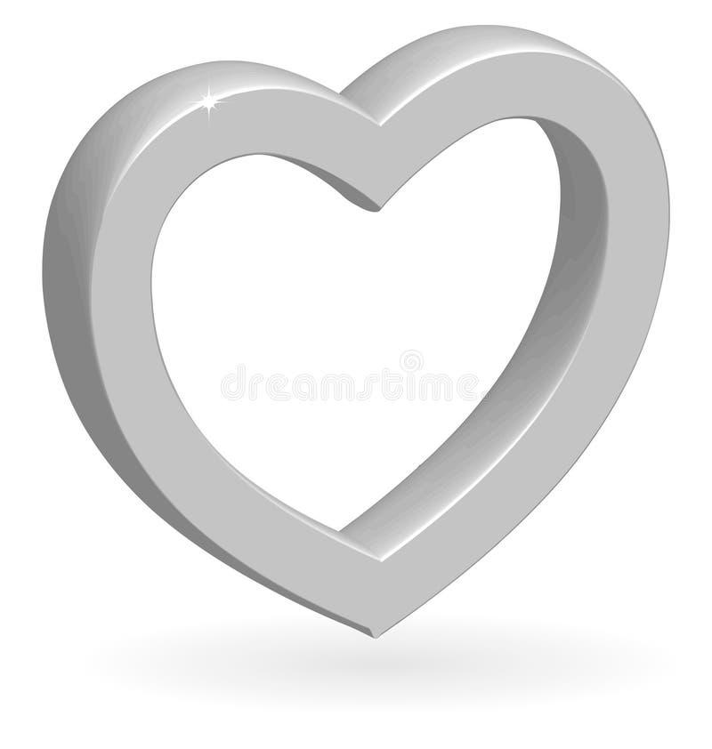 glansig silvervektor för hjärta 3d royaltyfri illustrationer