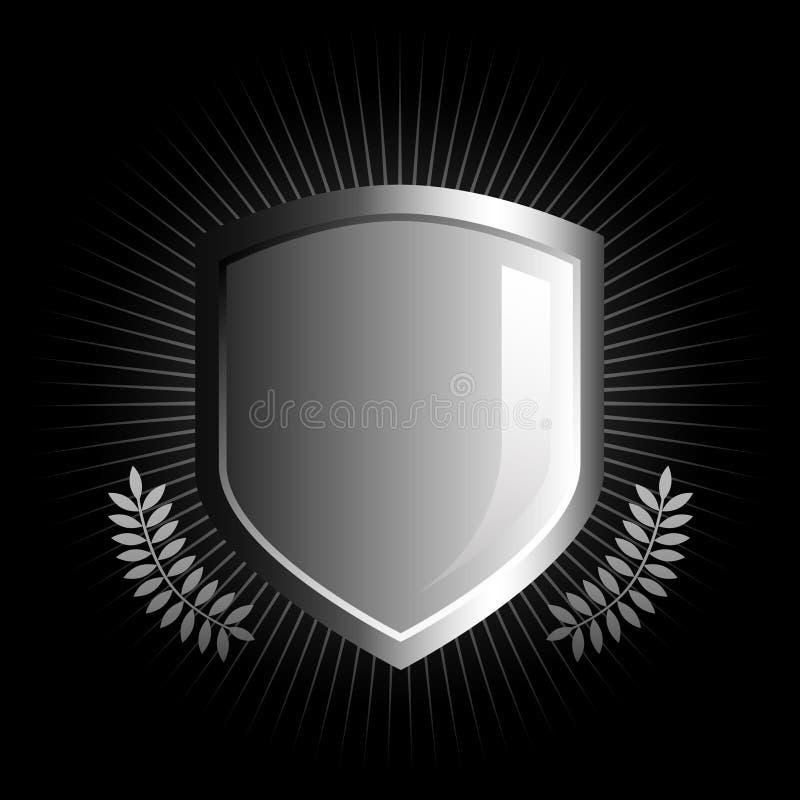glansig sköldwhite för svart emblem royaltyfri illustrationer