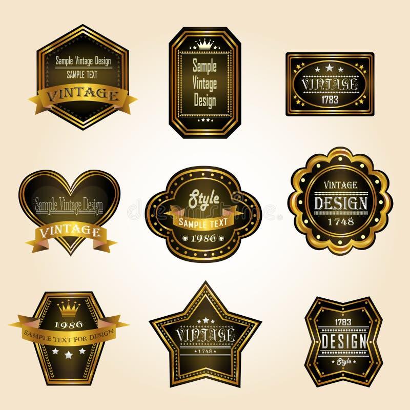 Glansig svart guld- tappning och retro emblem planlägger stock illustrationer