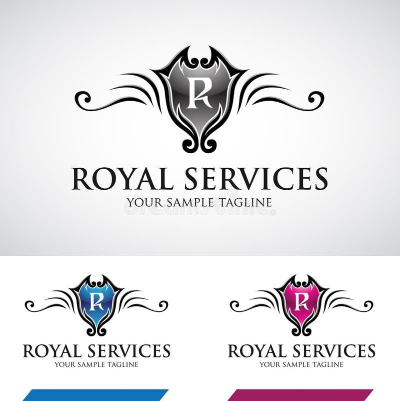 Glansig Swirly kunglig person Logo Icon vektor illustrationer