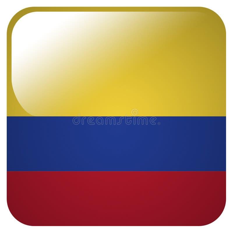 Glansig symbol med flaggan av Columbia vektor illustrationer