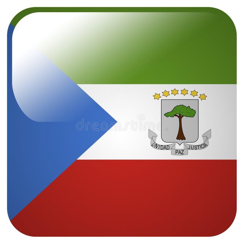 Glansig symbol med flaggan av Ekvatorialguinea vektor illustrationer