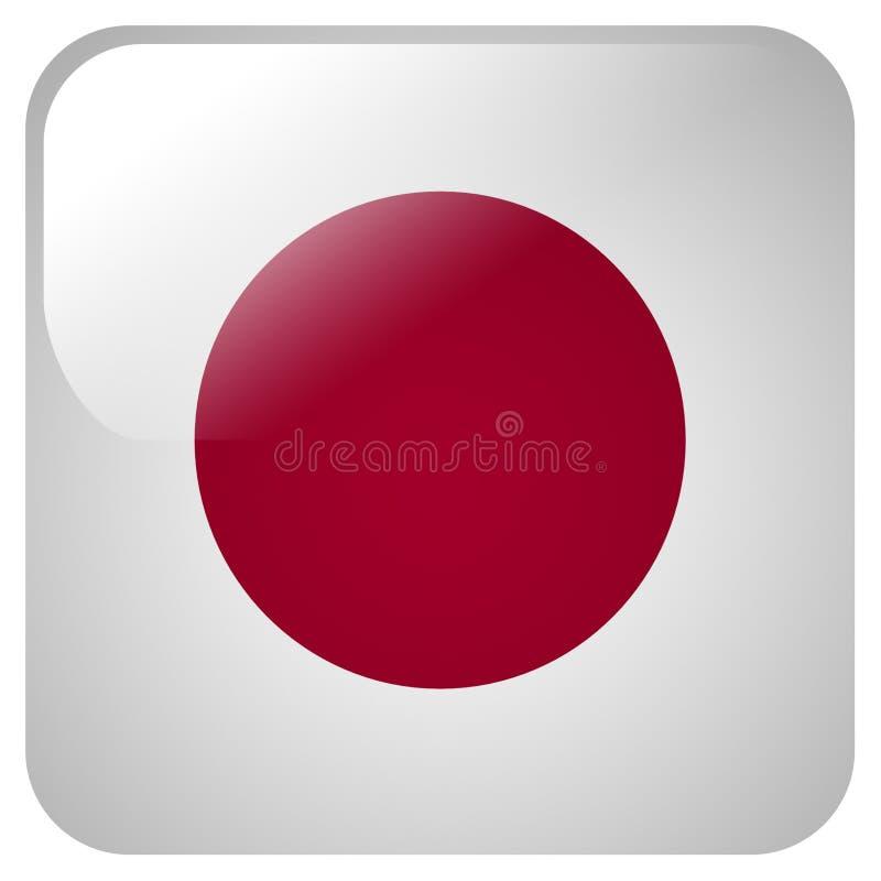 Glansig symbol med flaggan av Japan vektor illustrationer
