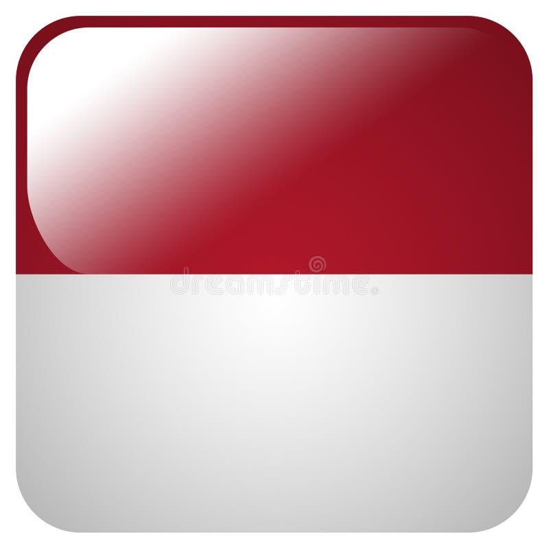 Glansig symbol med flaggan av Monaco stock illustrationer