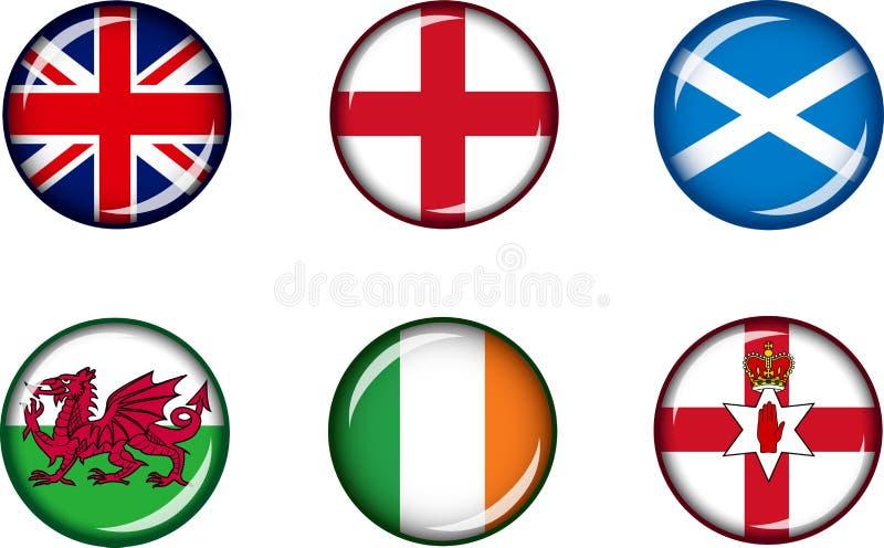 Glansig symbolsuppsättning för brittiska öar royaltyfri fotografi