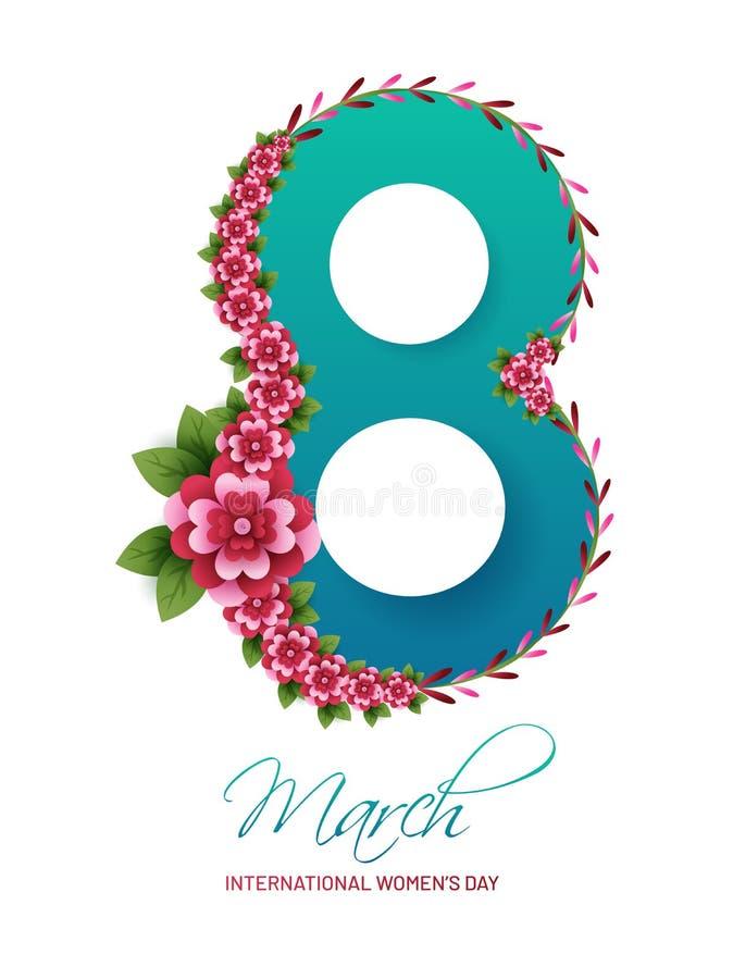Glansig text8 marsch som dekoreras med pappers- klippta blommor för internationella kvinnors dag stock illustrationer