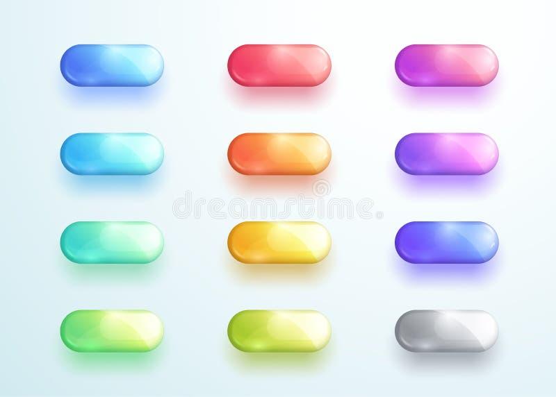 Glansig uppsättning för beståndsdelar för vektor för pillerknappShape symbol royaltyfri illustrationer