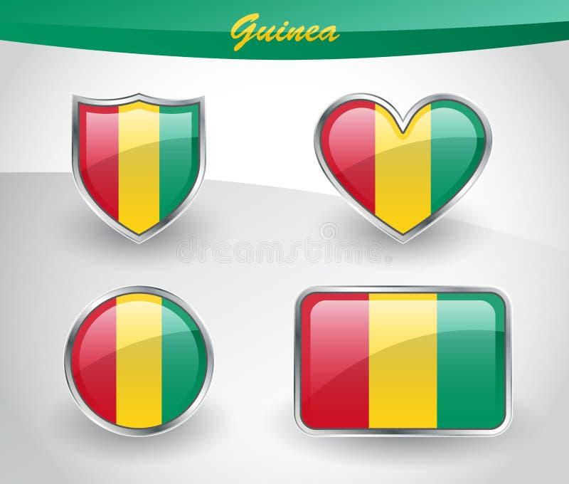 Glansig uppsättning för Guinea flaggasymbol vektor illustrationer