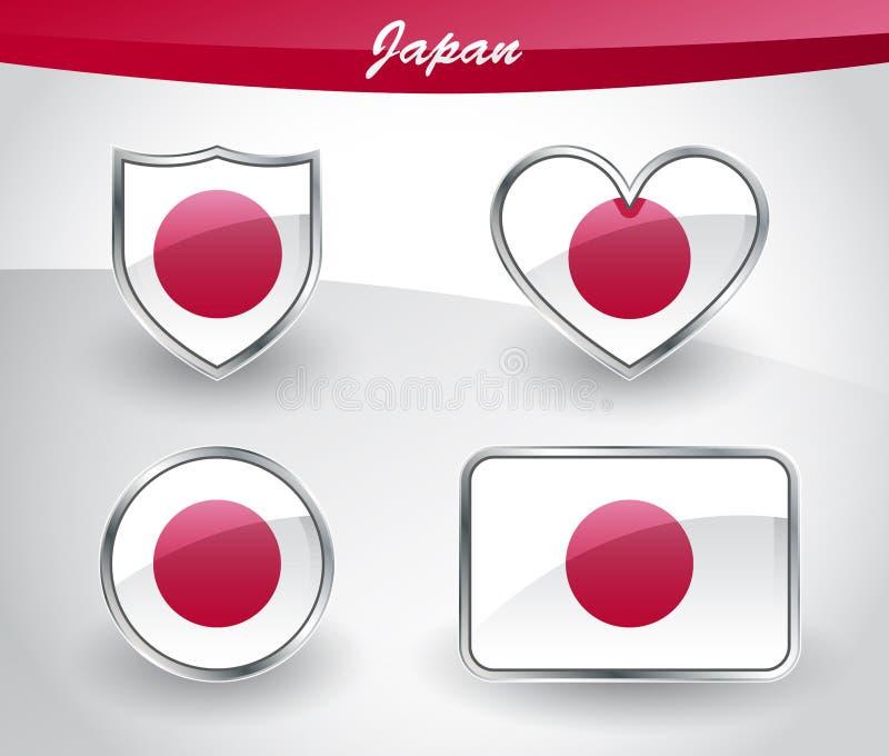 Glansig uppsättning för Japan flaggasymbol vektor illustrationer