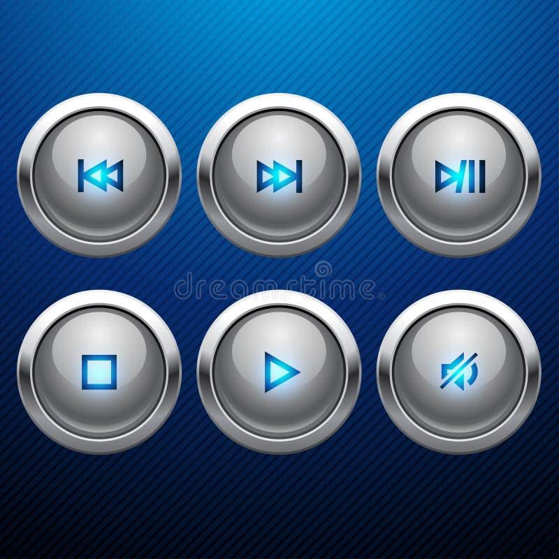 Glansig uppsättning för symbol för multimediakontrollrengöringsduk stock illustrationer