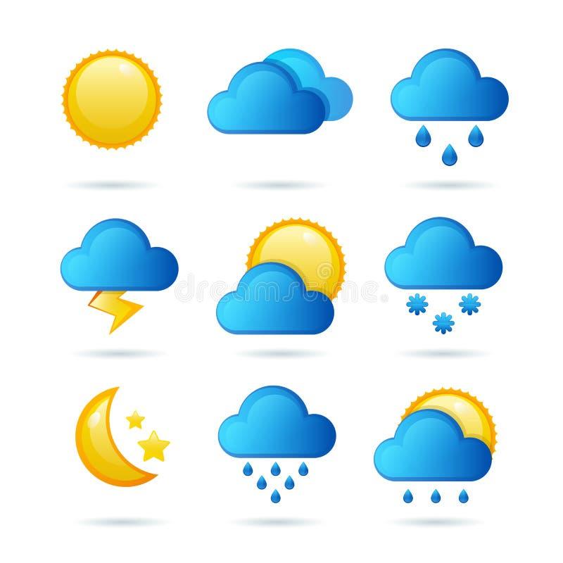 Glansig vädersymbolsuppsättning också vektor för coreldrawillustration Meteorologisymbol royaltyfri illustrationer