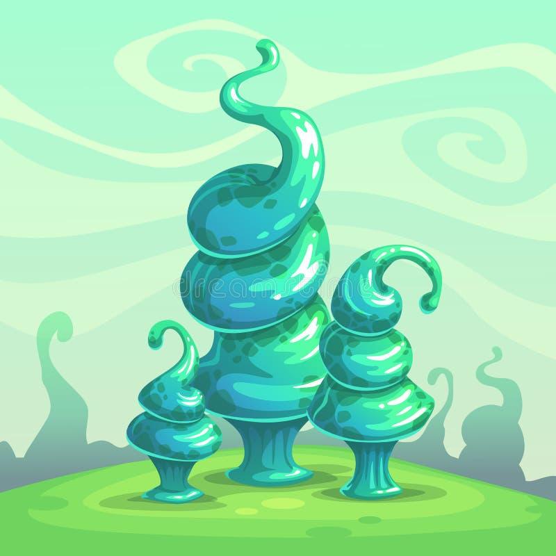 Glansiga blåa champinjoner för fantasi Främmande naturlandskap royaltyfri illustrationer