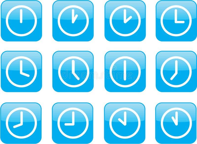 glansiga blåa klockor stock illustrationer