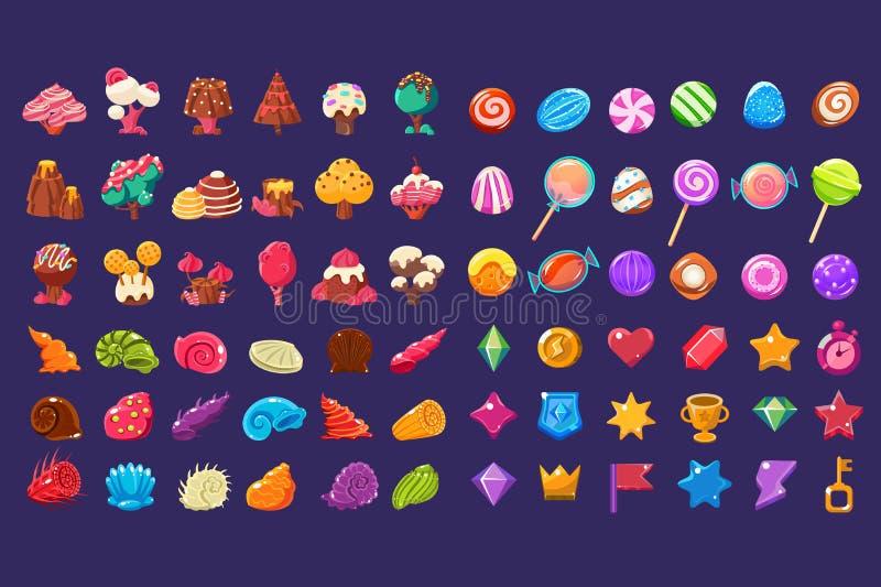 Glansiga diagram för färgrik gelé av olika former, beståndsdelar för fantasi för sött godisland gulliga, sötsaker, godisanvändare royaltyfri illustrationer