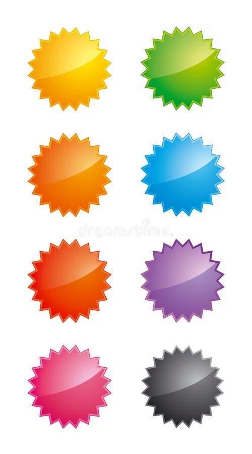 glansiga etiketter formade stjärnan vektor illustrationer