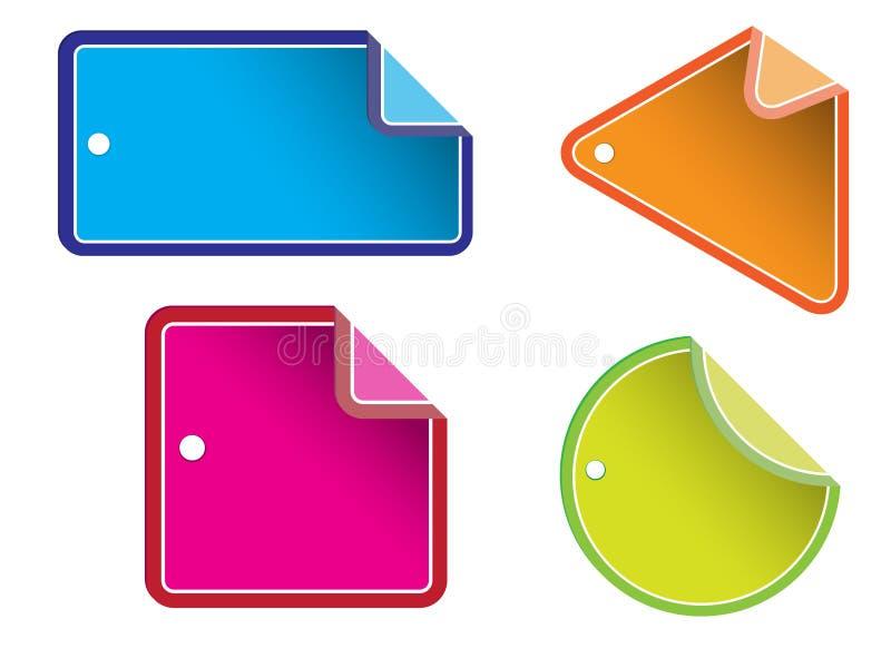glansiga försäljningsetiketter stock illustrationer
