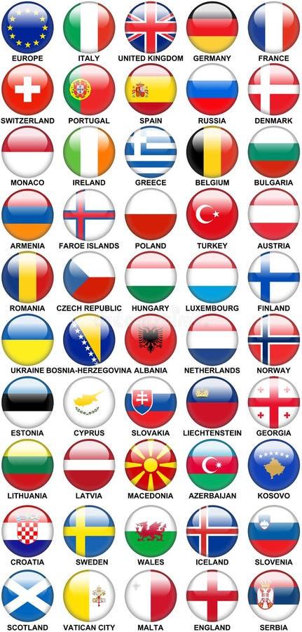 Glansiga flaggor för europeiska länder för knappar stock illustrationer