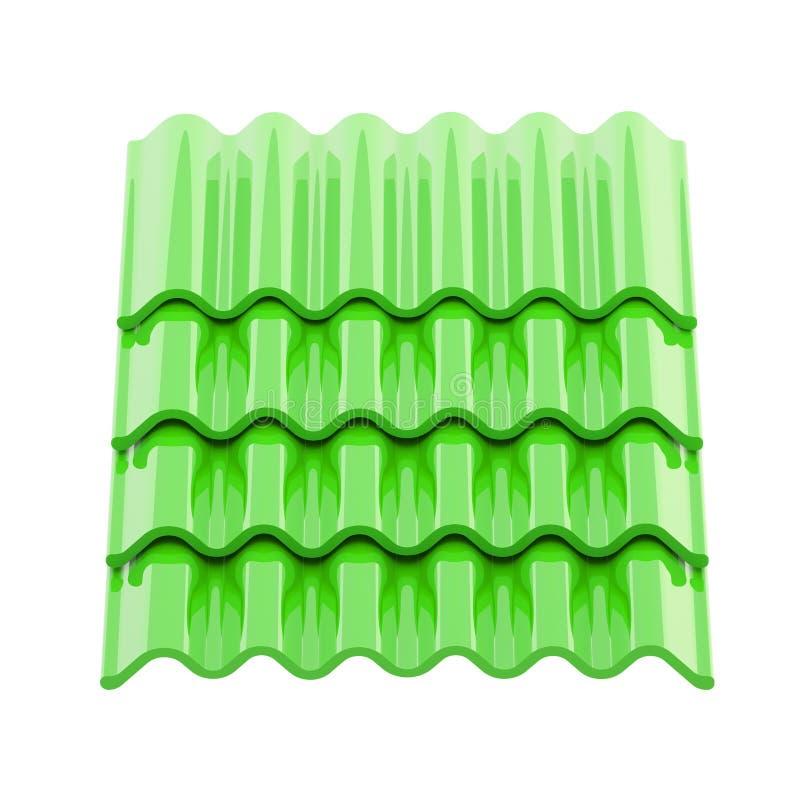 glansiga gröna isolerade taktegelplattor stock illustrationer