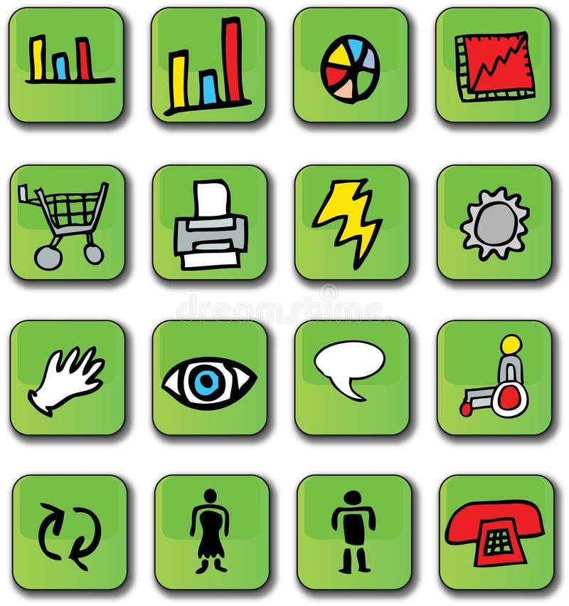 glansiga gröna symboler för affär stock illustrationer