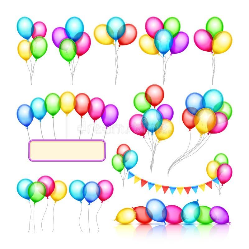 Glansiga grupper för berömpartiballong av garneringvektorn ställde in stock illustrationer