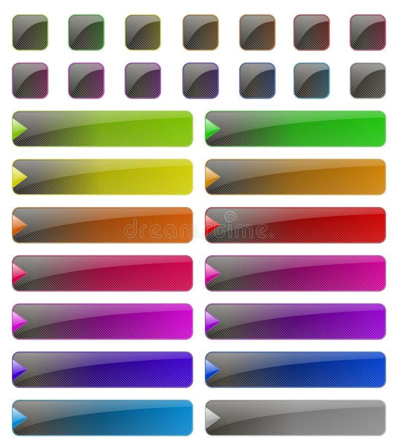 Glansiga rengöringsdukknappar vektor illustrationer