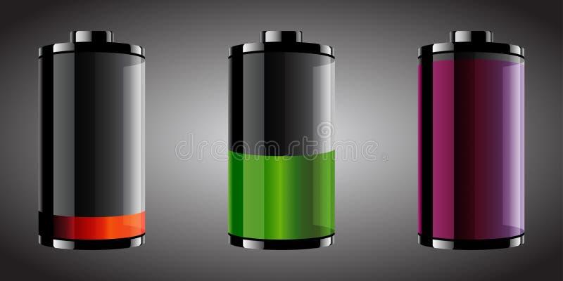 Glansiga seende batterier vektor illustrationer