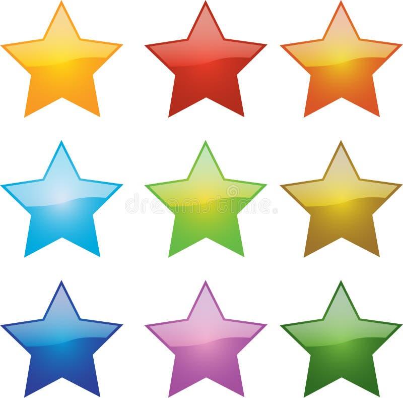 glansiga stjärnor stock illustrationer