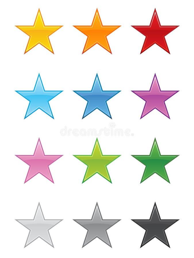 glansiga stjärnor för eps royaltyfri illustrationer