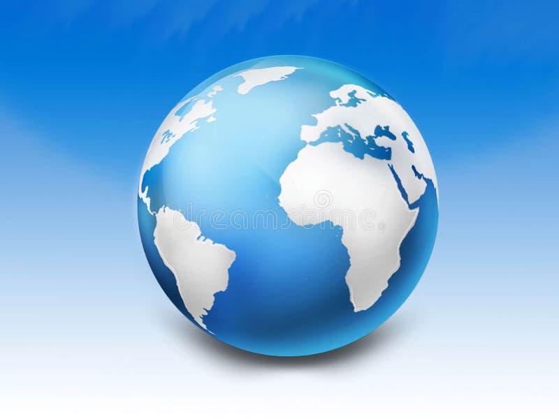 glansigt blått jordklot 3d stock illustrationer