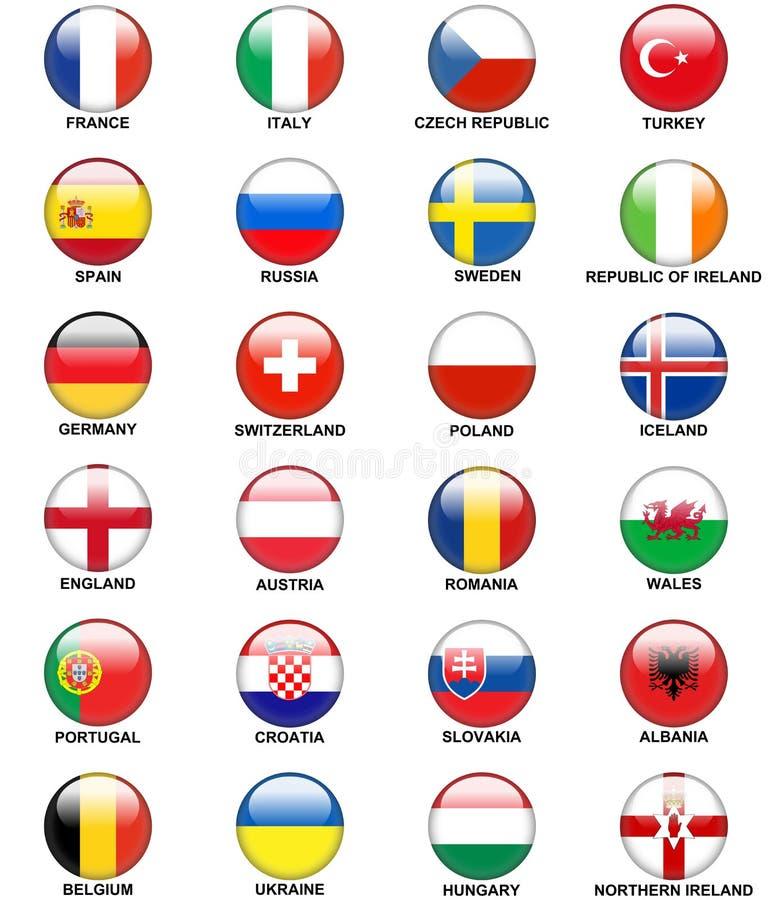 Glansigt euro 2016 för flaggor för europeiska länder för knappar vektor illustrationer
