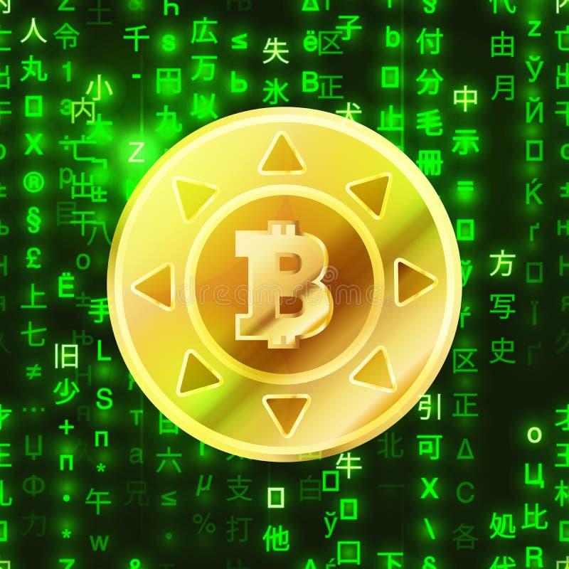 Glansigt guld- bitcoinmynt på den binära koden för grön matris, crypto-valuta befruktningillustration royaltyfri illustrationer