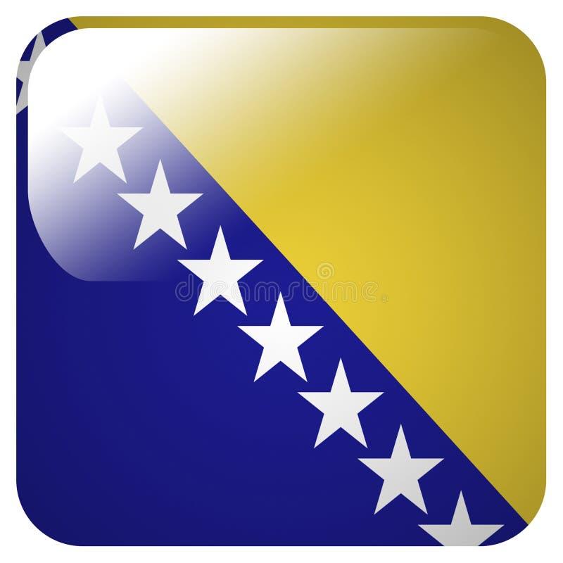 Glansowana ikona z flagą Bośnia i Herzegovina royalty ilustracja