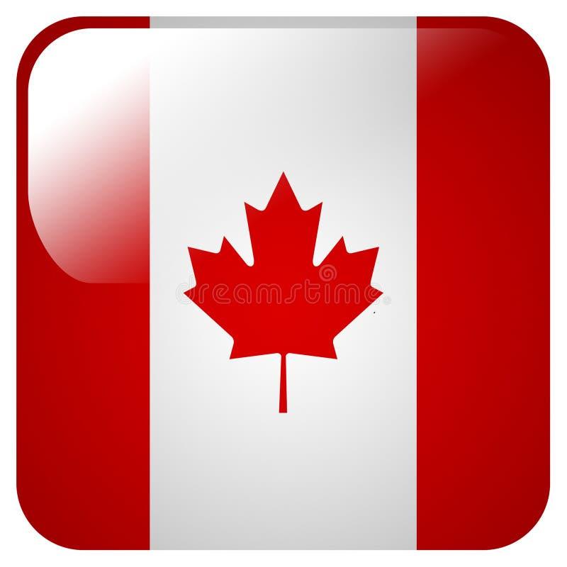 Glansowana ikona z flagą Kanada ilustracja wektor