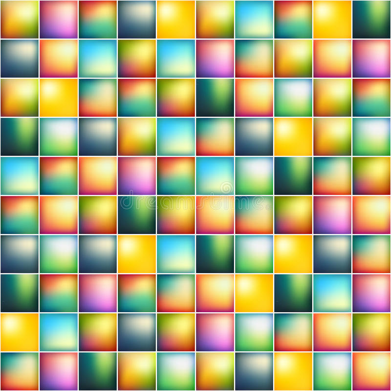 Glansowana kolorowa mozaika kwadrata komórek siatka royalty ilustracja