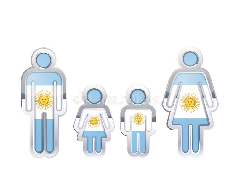Glansowana metal odznaki ikona w mężczyzna, kobiety i children kształtach z Argentyna flaga, infographic element na bielu ilustracja wektor