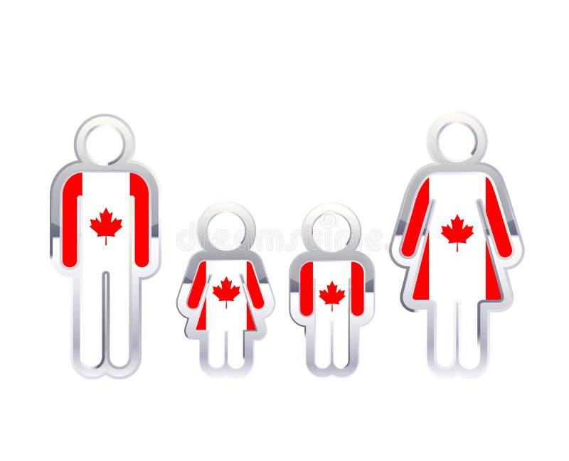 Glansowana metal odznaki ikona w mężczyzna, kobiety i children kształtach z Kanada flaga, infographic element na bielu ilustracja wektor