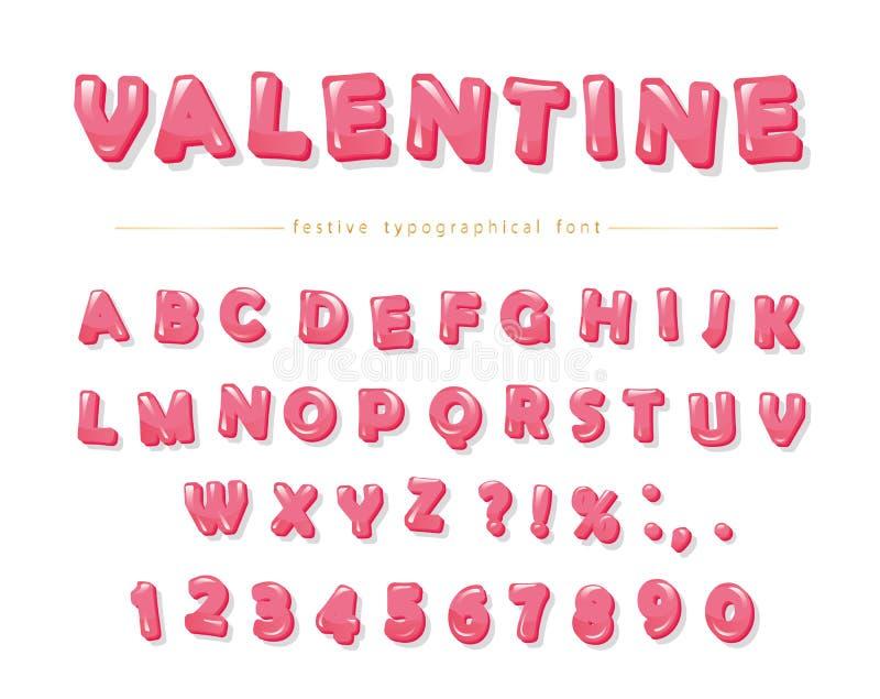 Glansowana różowa dekoracyjna chrzcielnica Kreskówka ABC pisze list i liczby Doskonalić dla walentynki s dnia kart, śliczny proje royalty ilustracja