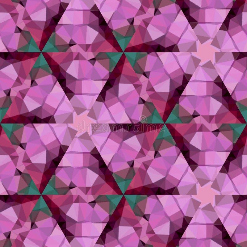 Glansowana wzór płytki mozaiki trójboka grafika w fiołku, origami tło ilustracji
