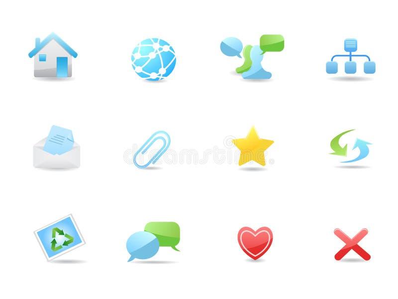 glansowane blog ikony ustawiają sieć ilustracji