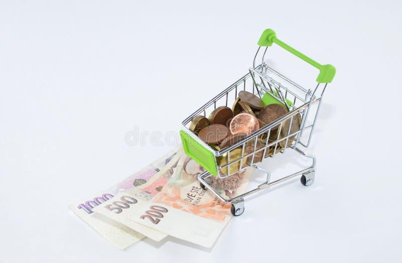 Glansowane i kolorowe monety z banknotami w shoping furze Pieniężna rzecz Tło zdjęcie stock