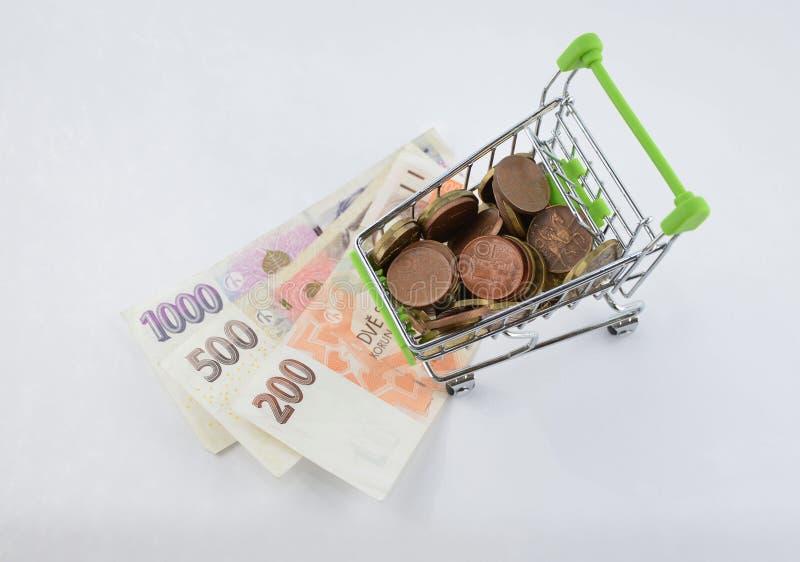 Glansowane i kolorowe monety z banknotami w shoping furze Pieniężna rzecz Tło obrazy stock