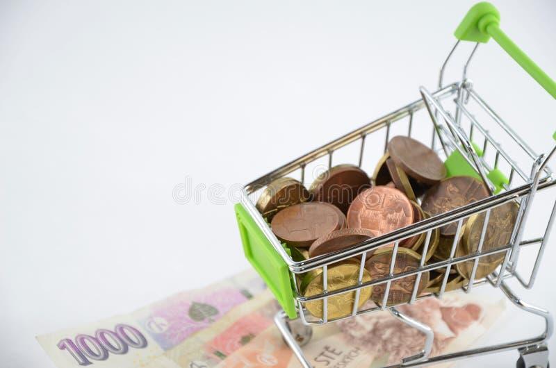 Glansowane i kolorowe monety z banknotami w shoping furze Pieniężna rzecz Tło zdjęcia stock