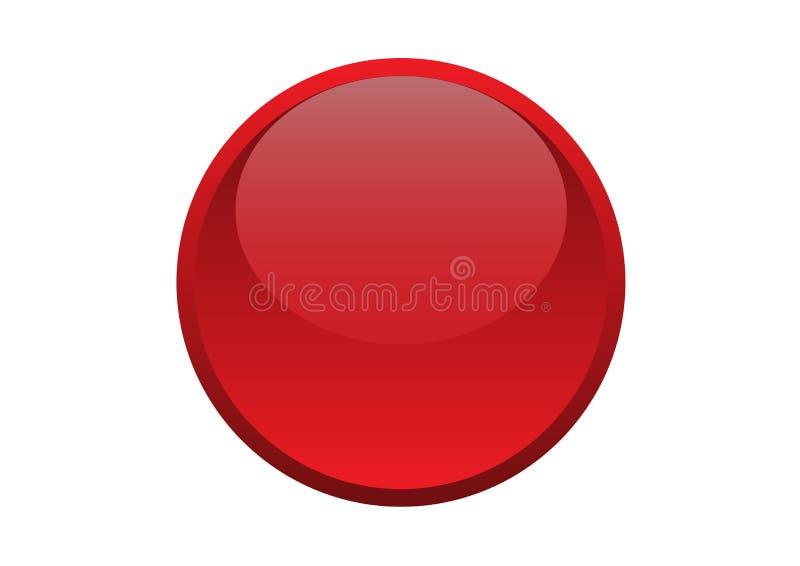 Glansowanego Round okręgu Czerwony guzik obrazy stock
