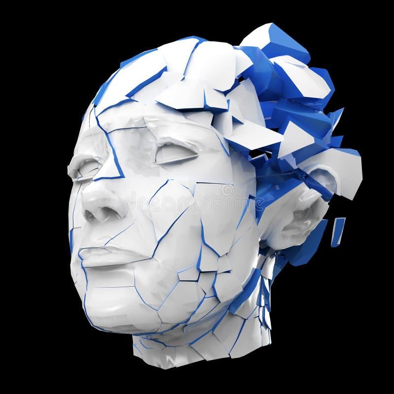 Glansowanej kobiety kierowniczy wybuchać zamykam - migrena, umysłowi problemy, stres royalty ilustracja