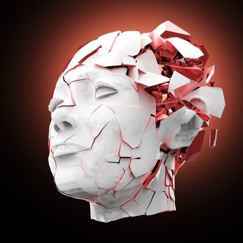 Glansowanej kobiety kierowniczy wybuchać zamykam - migrena, umysłowi problemy, stres ilustracji