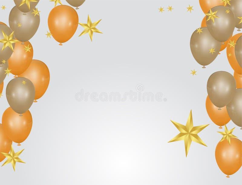 Glansowani balony Złotych kolorów Dekoracyjni elementy dla partyjnego zaproszenie projekta z kopii przestrzenią również zwrócić c ilustracji