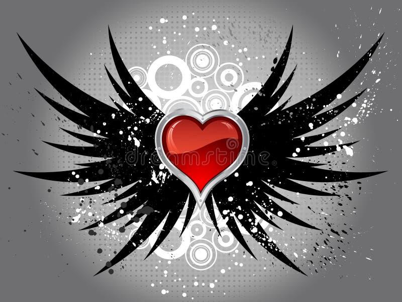 glansowani grunge serca skrzydła ilustracja wektor